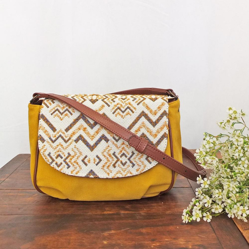besace flores camille jacquard ocre