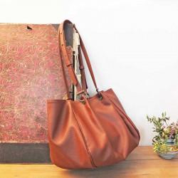 grand sac Camille Oman apple skin marron