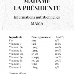 informations nutritionnelles Madame la Présidente mama gummies