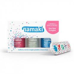 coffret Namaki vernis a ongles rose, blanc, bleu