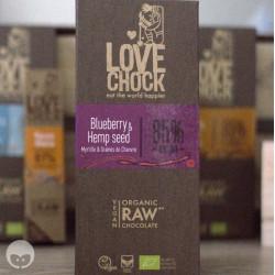 lovechock - chocolat vegan myrtille graines de chanvre